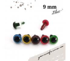 Безпечні очі-гвинтики 9 мм (пара) блакитні