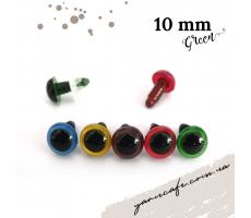 Безпечні очі-гвинтики 10 мм (пара) зелені